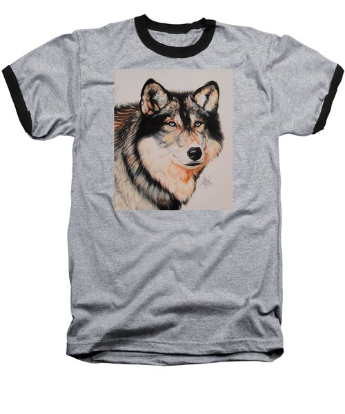 Mexican Wolf Hybrid Baseball T-Shirt by Cheryl Poland