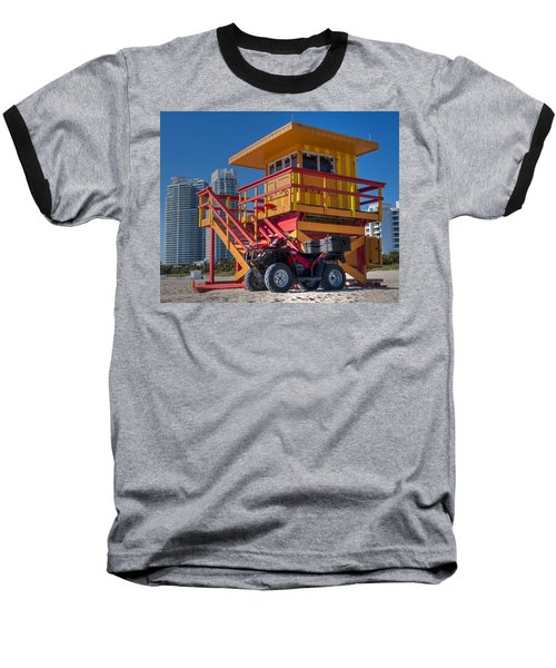 Miami Beach Lifeguard House Ocean Rescue Baseball T-Shirt by Toby McGuire