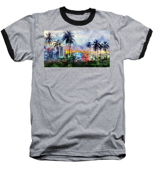 Miami Beach Watercolor Baseball T-Shirt by Jon Neidert