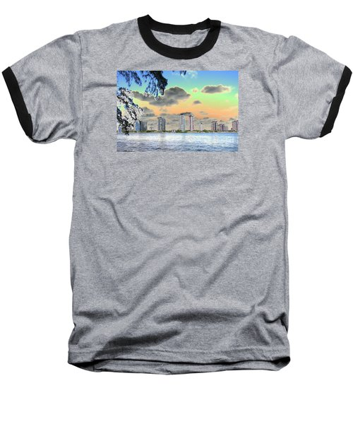 Miami Skyline Abstract Baseball T-Shirt by Christiane Schulze Art And Photography