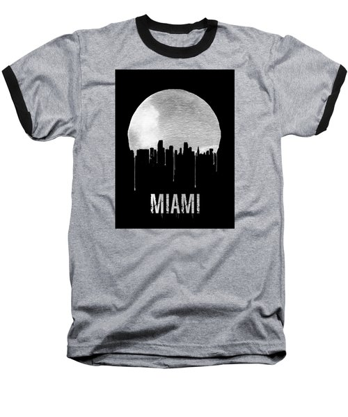 Miami Skyline Black Baseball T-Shirt by Naxart Studio
