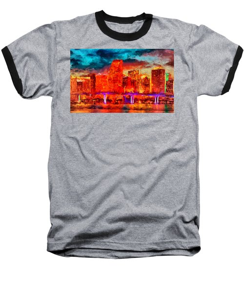 Miami Skyline Baseball T-Shirt