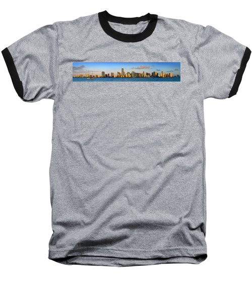Miami Skyline In Morning Daytime Panorama Baseball T-Shirt by Jon Holiday
