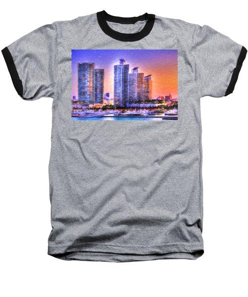 Miami Skyline Sunrise Baseball T-Shirt