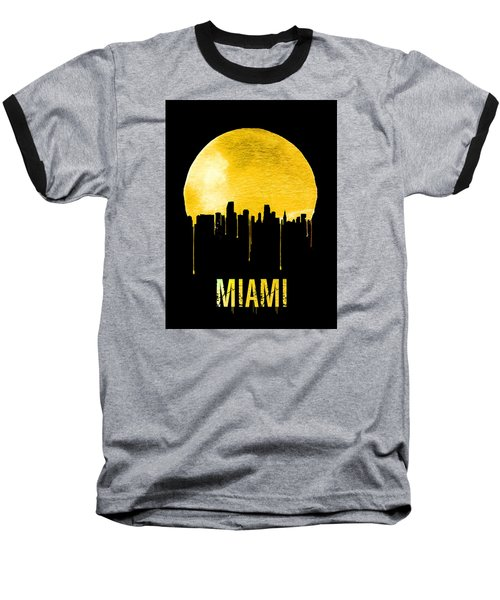 Miami Skyline Yellow Baseball T-Shirt by Naxart Studio