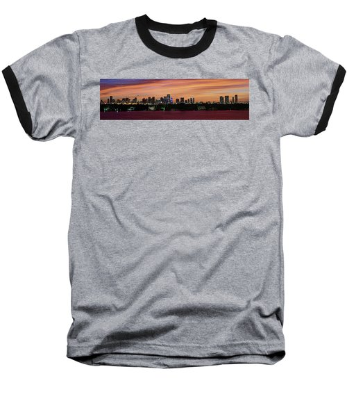 Miami Sunset Panorama Baseball T-Shirt by Gary Dean Mercer Clark