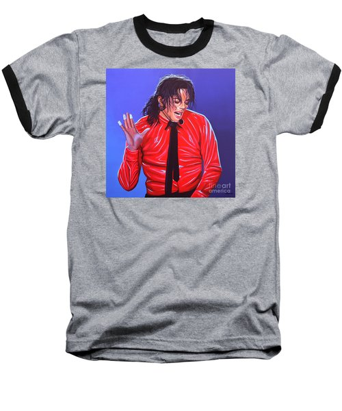 Michael Jackson 2 Baseball T-Shirt by Paul Meijering