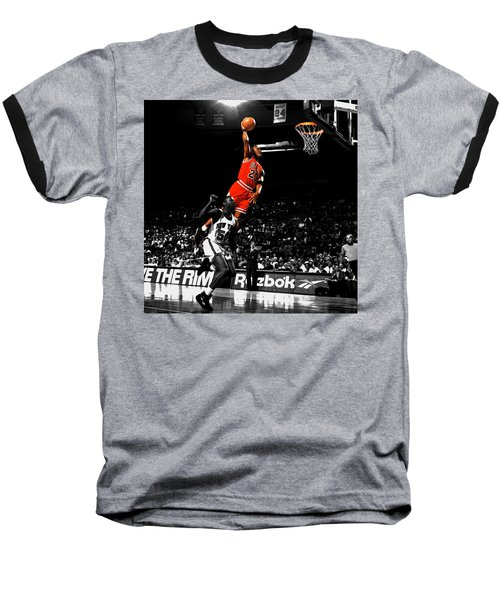 Michael Jordan Suspended In Air Baseball T-Shirt by Brian Reaves