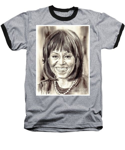 Michelle Obama Watercolor Portrait Baseball T-Shirt
