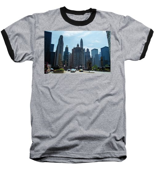Michigan Avenue Bridge And Skyline Chicago Baseball T-Shirt