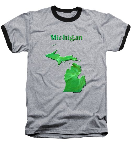 Michigan Map Baseball T-Shirt