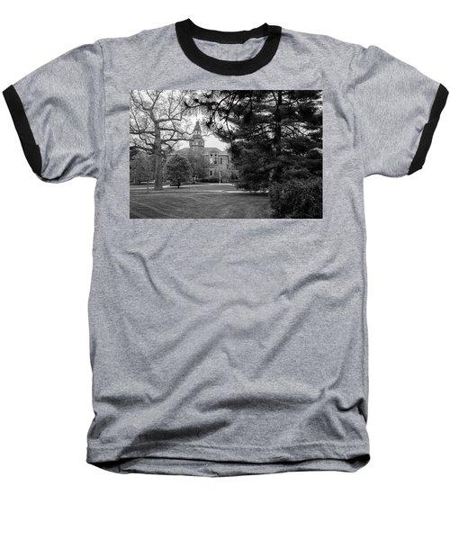 Michigan State University Campus Black And White  Baseball T-Shirt by John McGraw