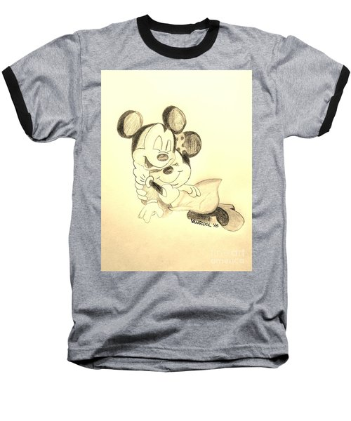Mickey Minnie Cuddle Buddies - Sepia Baseball T-Shirt