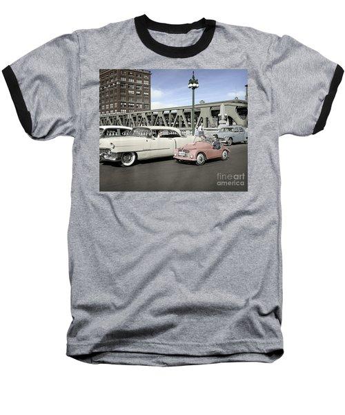 Baseball T-Shirt featuring the photograph Micro Car And Cadillac by Martin Konopacki Restoration