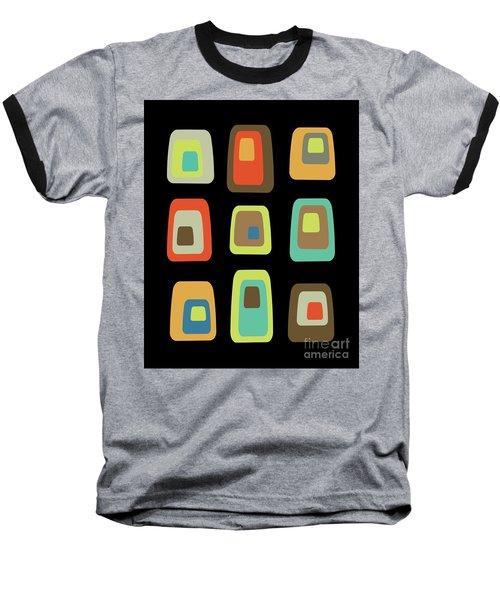 Mid Century Modern Oblongs On Black Baseball T-Shirt
