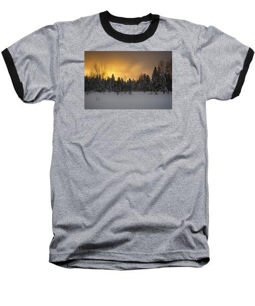 Mid-winter Glow Baseball T-Shirt by Dan Hefle