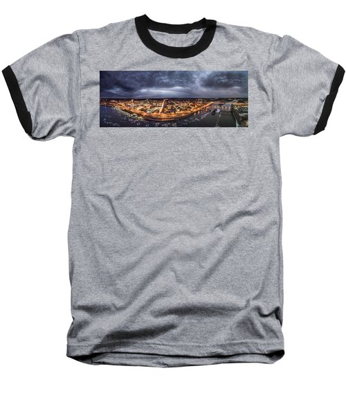 Middletown Connecticut, Twilight Panorama Baseball T-Shirt by Petr Hejl