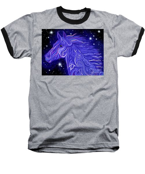 Baseball T-Shirt featuring the drawing Midnight Blue Mustang by Nick Gustafson