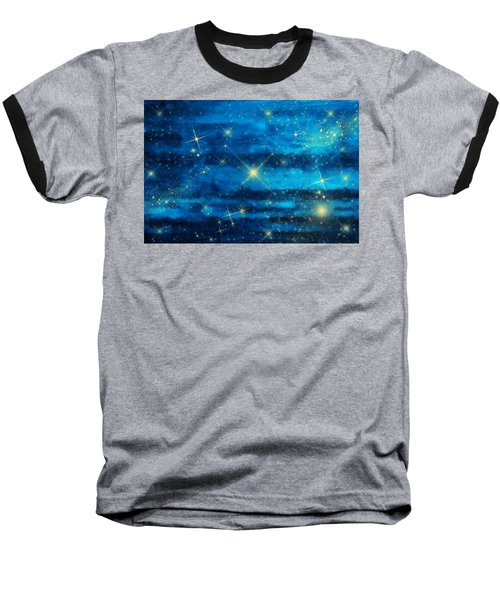 Midnight Blue Sky With Stars Baseball T-Shirt