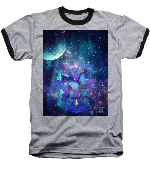 Midnight Butterfly Baseball T-Shirt by Mo T
