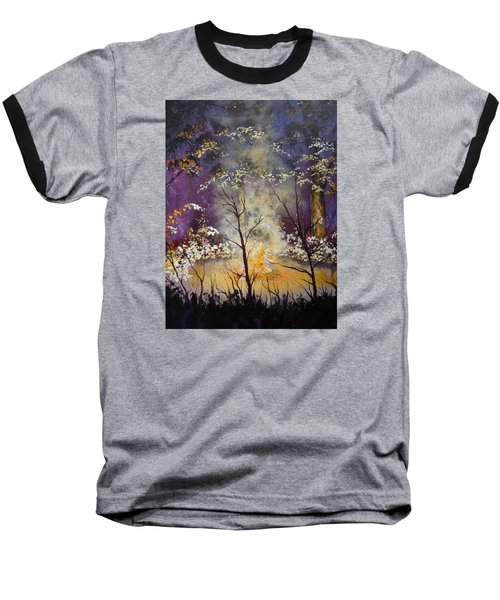 Baseball T-Shirt featuring the painting Midnight Campsite by Dan Whittemore