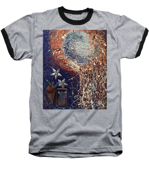 Midnight Flowers Baseball T-Shirt by Gallery Messina