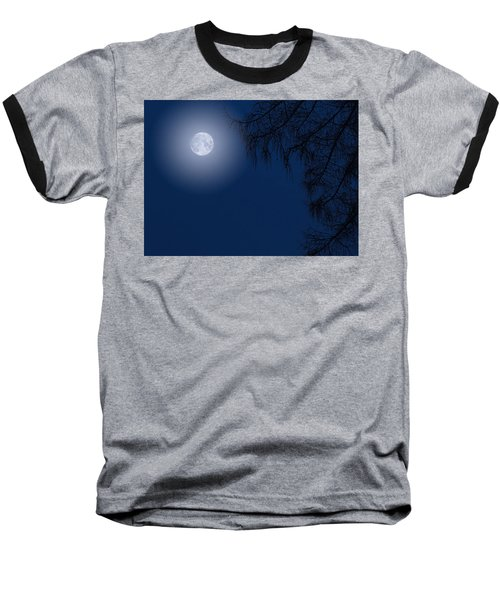Midnight Moon And Night Tree Silhouette Baseball T-Shirt