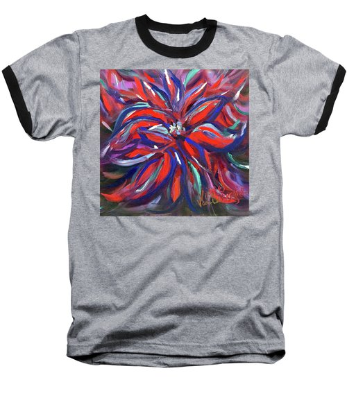 Midnight Poinsettia Baseball T-Shirt