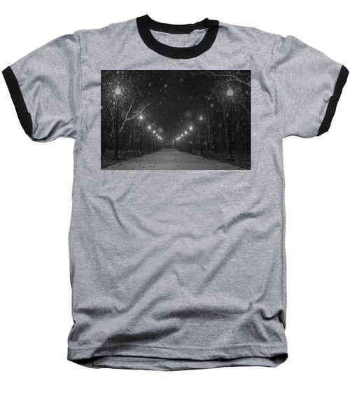 Midnight Snow Storm Baseball T-Shirt