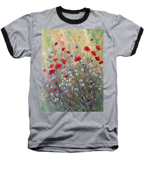Midsummer Poppies Baseball T-Shirt