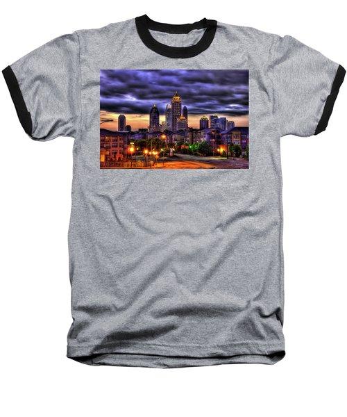Midtown Atlanta Towers Over Atlantic Commons Baseball T-Shirt by Reid Callaway