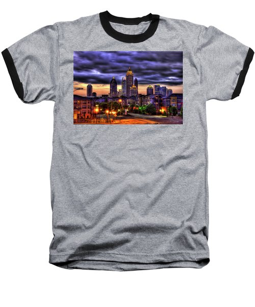 Midtown Atlanta Towers Over Atlantic Commons Art Baseball T-Shirt