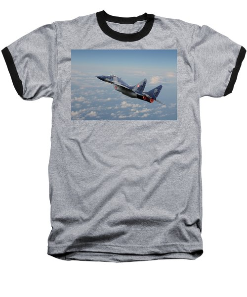 Baseball T-Shirt featuring the digital art Mig 29 - Polish Fulcrum Dedication by Pat Speirs