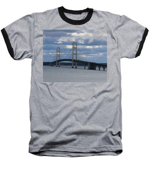 Mighty Mac The Mackinac Bridge Baseball T-Shirt by Keith Stokes