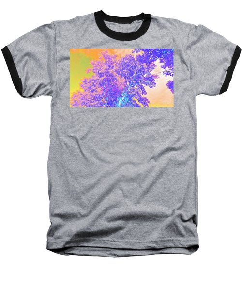 Baseball T-Shirt featuring the mixed media Mighty Oak Abstract by Mike Breau