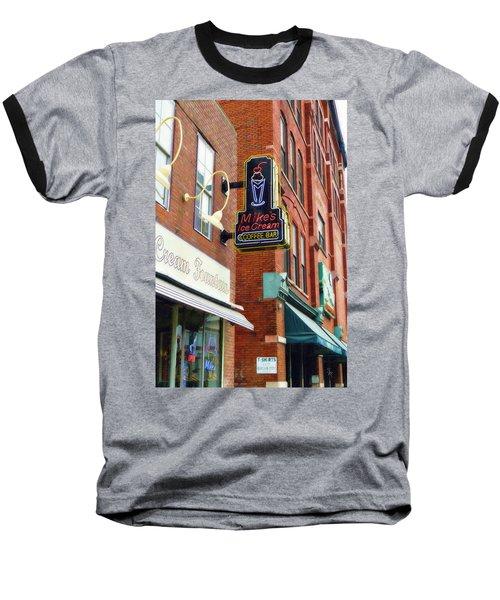 Mike's Ice Cream And Coffee Bar Baseball T-Shirt by Sandy MacGowan