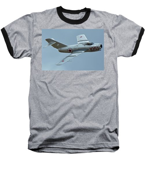 Baseball T-Shirt featuring the photograph Mikoyan-gurevich Mig-15 Nx87cn Chino California April 30 2016 by Brian Lockett