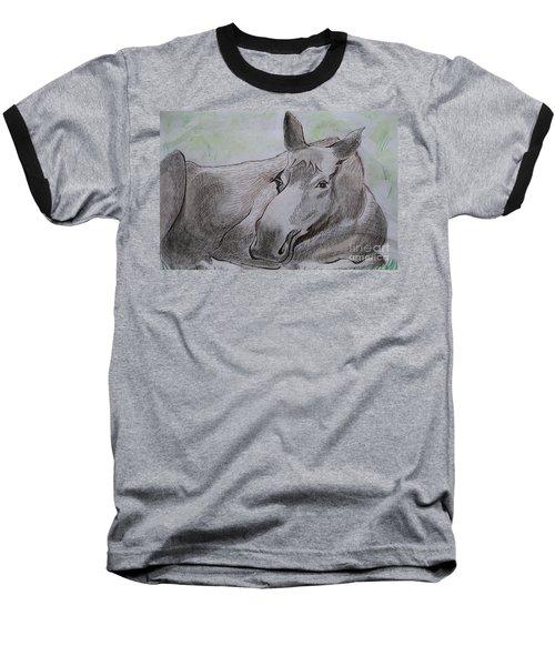 Mildred The Moose Resting Baseball T-Shirt