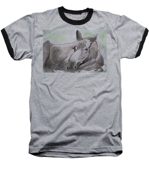 Mildred The Moose Resting Baseball T-Shirt