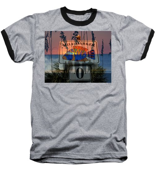 Baseball T-Shirt featuring the photograph Mile Marker 0 Sunset by David Lee Thompson