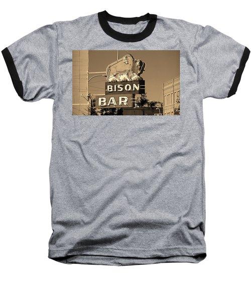 Miles City, Montana - Bison Bar Sepia Baseball T-Shirt