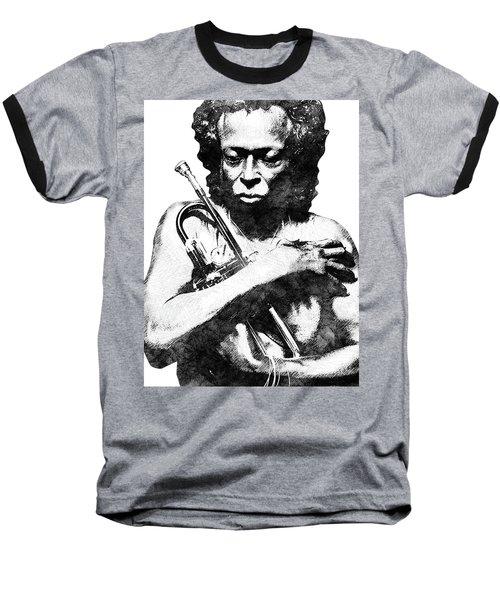 Miles Davis Bw  Baseball T-Shirt by Mihaela Pater