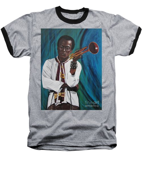 Miles-in A Really Cool White Shirt Baseball T-Shirt by Sigrid Tune