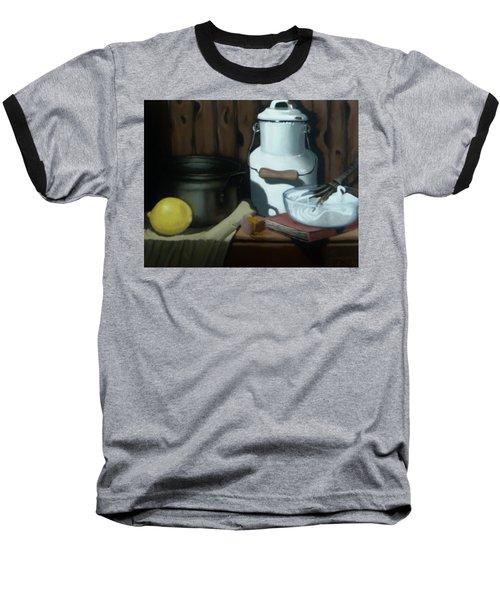 Baseball T-Shirt featuring the painting Milk Jug Meringue by Susan Roberts