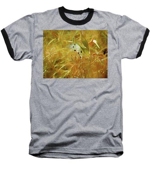 Baseball T-Shirt featuring the mixed media Milkweed In Sunlight 2 by Lynda Lehmann