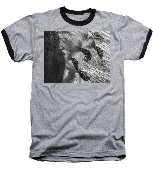 Milkweed Sunburst In Black And White Baseball T-Shirt
