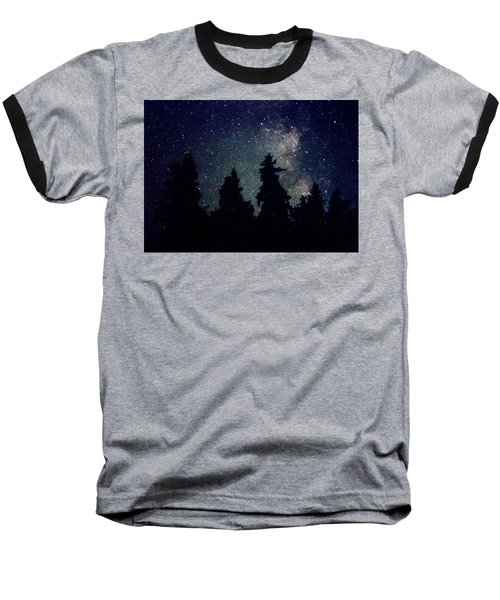 Milky Way Above Northern Forest 22 Baseball T-Shirt by Lyle Crump
