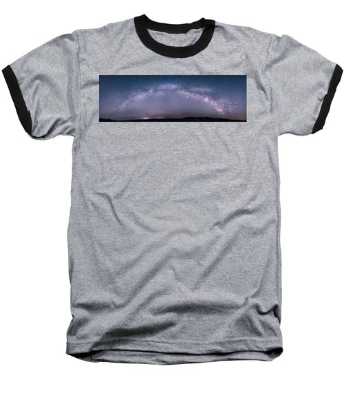 Milky Way Arch Over The Badlands Baseball T-Shirt