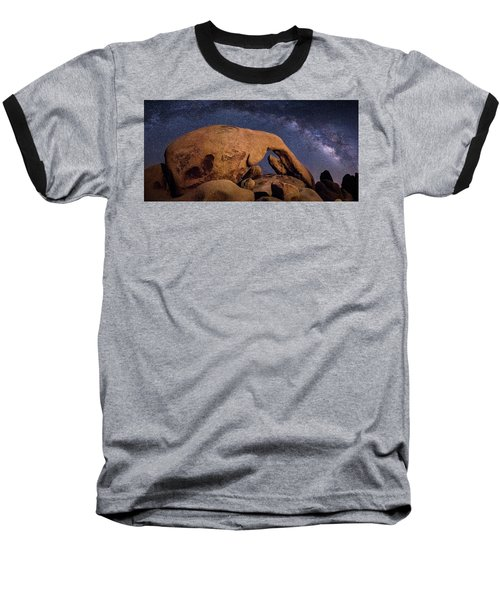 Milky Way Over Arch Rock Baseball T-Shirt