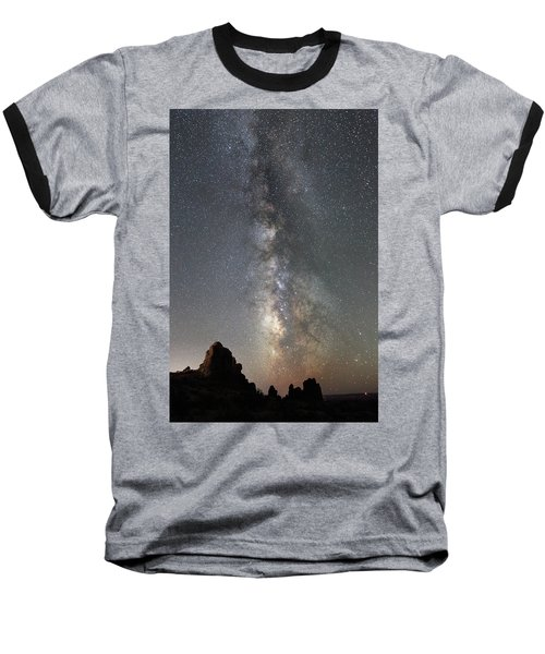 Milky Way Over Arches Np  One Baseball T-Shirt